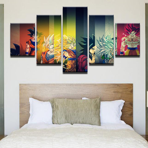 Dragon Ball Z 5 Panel Canvas Print Wall Art