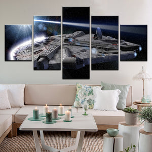 Star Wars Millennium Falcon 5 Panel Canvas Print Wall Art