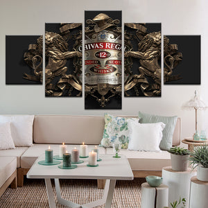 Chivas Regal Scotch 5 Panel Canvas Print Wall Art