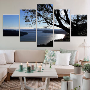 Active Pass British Columbia 5 Panel Canvas Print Wall Art