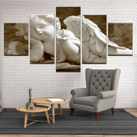 Baby Angel Statue 5 Panel Canvas Print Wall Art