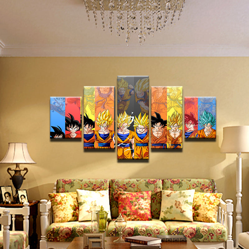 Dragon Ball 5 Panel Canvas Print Wall Art