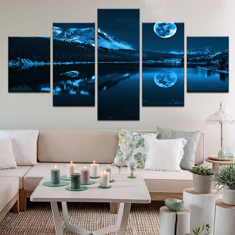 Full Moon Over Mountain Lake 5 Panel Canvas Print Wall Art