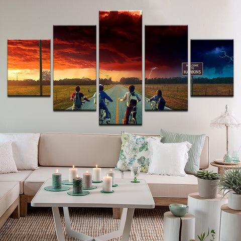 Stranger Things 5 Panel Canvas Print Wall Art