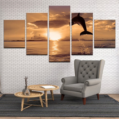 Dolphin Leaps Towards The Sunset 5 Panel Canvas Print Wall Art