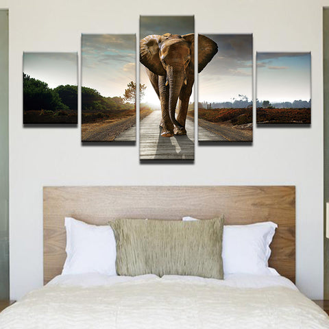 Elephant Walking Down The Road 5 Panel Canvas Print Wall Art