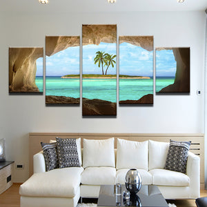 Palm Island From Beach Cave 5 Panel Canvas Print Wall Art