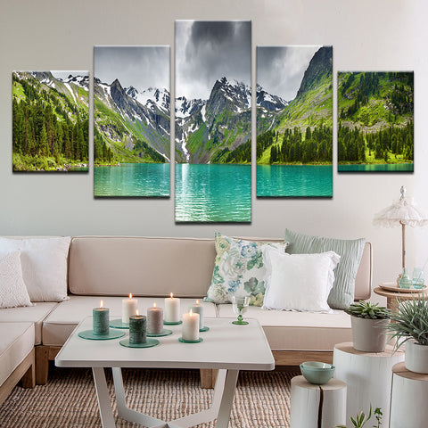 Lake Louise Banff Alberta Rocky Mountains 5 Panel Canvas Print Wall Art