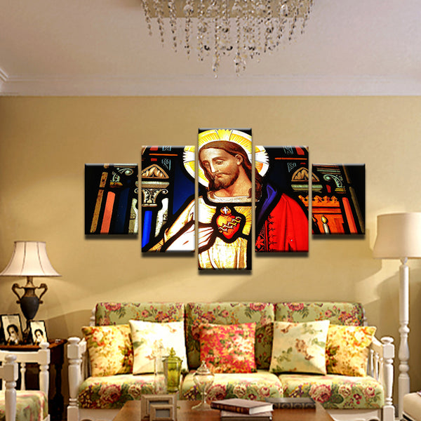 Jesus Christ Stained Glass 5 Panel Canvas Print Wall Art