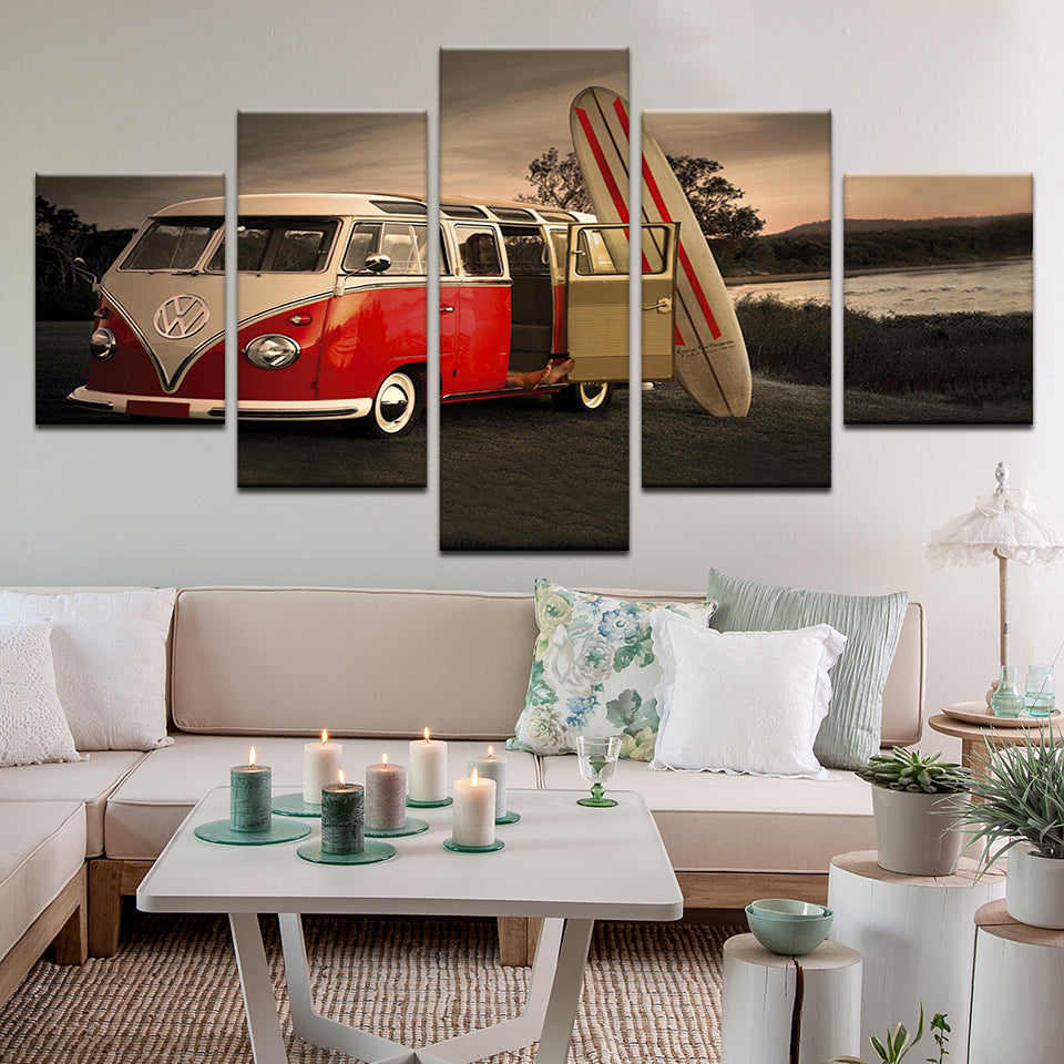 VW Volkswagen Van With Surfboard 5 Panel Canvas Print Wall Art