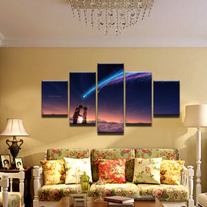 Your Name Kimi no Na wa 5 Panel Canvas Print Wall Art