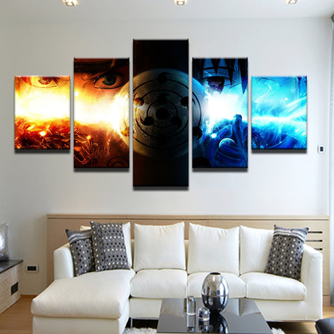 Naruto Sasuke Fire And Ice 5 Panel Canvas Print Wall Art