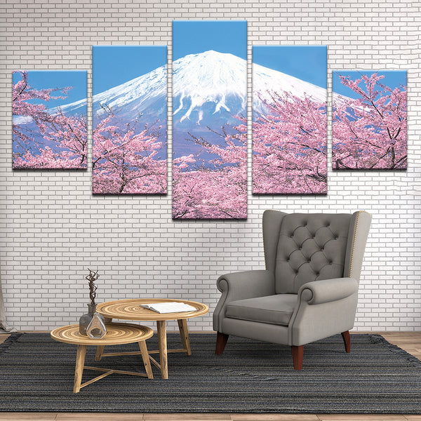 Mt. Fuji Cherry Blossoms Japan 5 Panel Canvas Print Wall Art