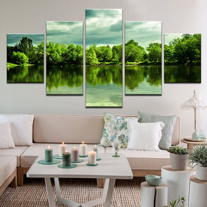 Green Trees Over Peaceful Pond 5 Panel Canvas Print Wall Art