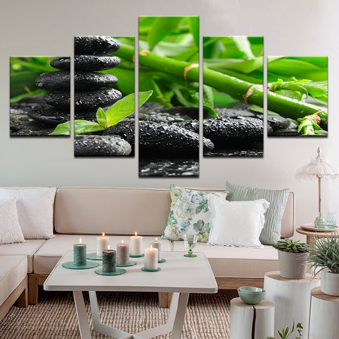 Bamboo Stones Zen 5 Panel Canvas Print Wall Art