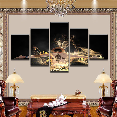 One Piece Ace Whitebeard Tattoo 5 Panel Canvas Print Wall Art