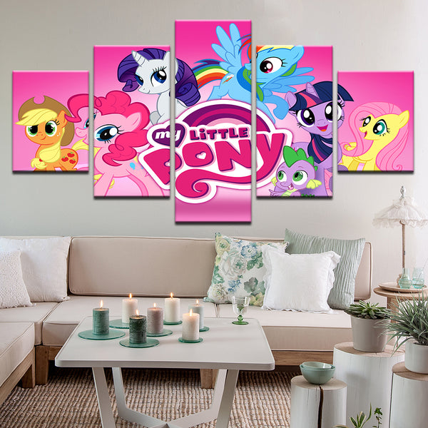 My Little Pony 5 Panel Canvas Print Wall Art