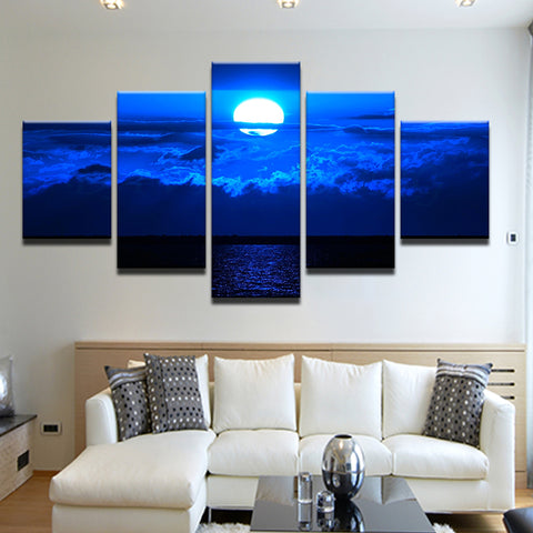 Full Moon Over The Sea 5 Panel Canvas Print Wall Art