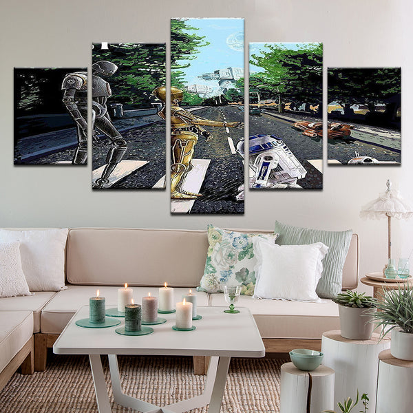 Star Wars Abbey Road Droids 5 Panel Canvas Print Wall Art