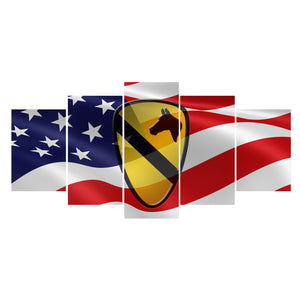 US Army 1st Cavalry Patch And Flag 5 Panel Canvas Print Wall Art