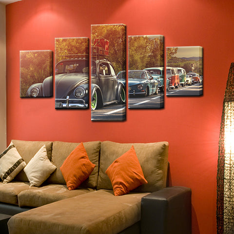 Volkswagen Country Cruise 5 Panel Canvas Print Wall Art