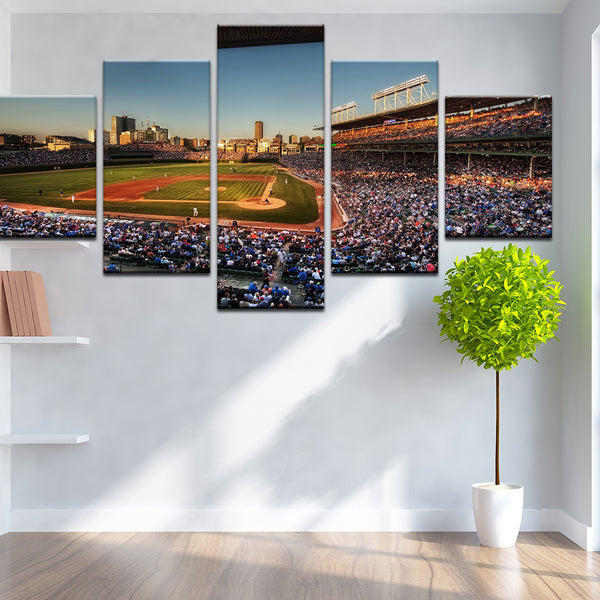 Wrigley Field Chicago 5 Panel Canvas Print Wall Art