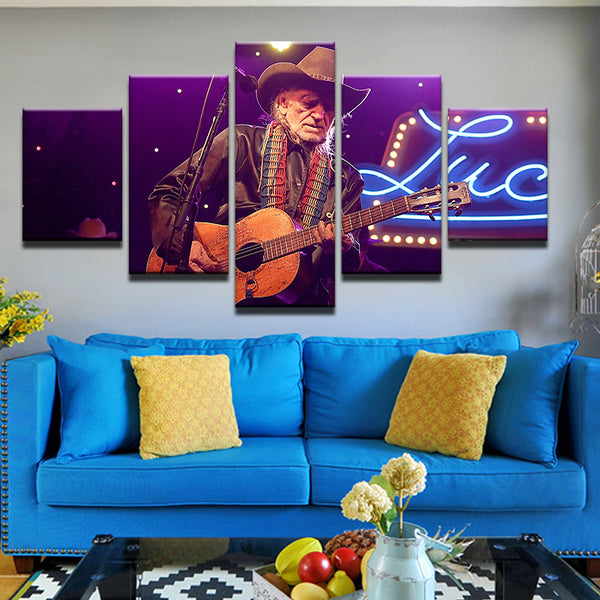 Willie Nelson 5 Panel Canvas Print Wall Art