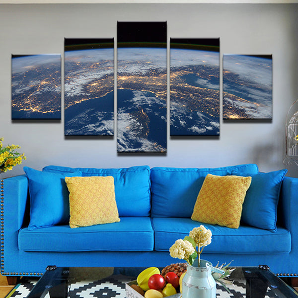 Earth From The International Space Station 5 Panel Canvas Print Wall Art