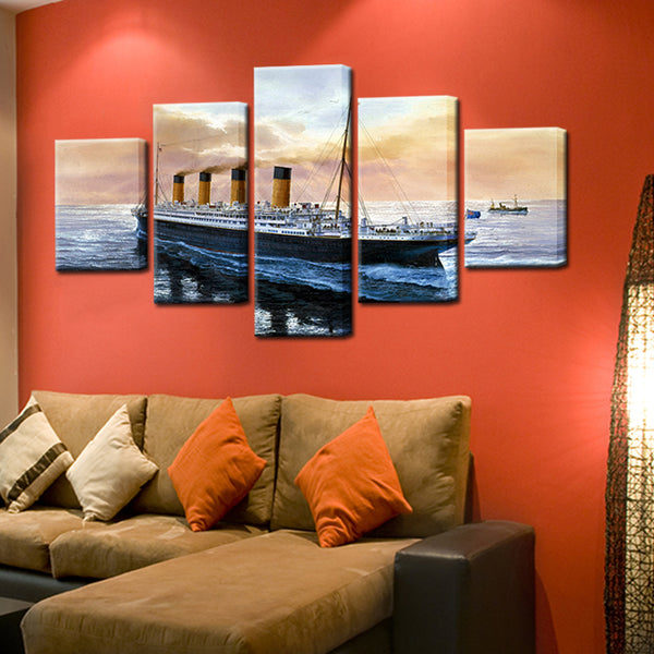 Titanic Painting 5 Panel Canvas Print Wall Art