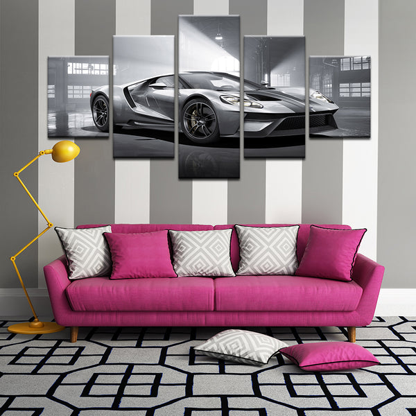 Ford GT 5 Panel Canvas Print Wall Art