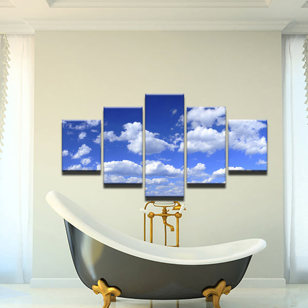 White Fluffy Clouds 5 Panel Canvas Print Wall Art