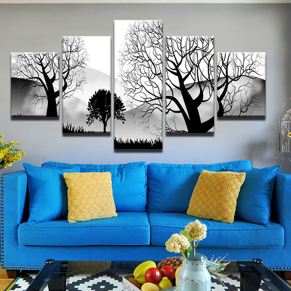 Modern Abstract Trees In Black And White 5 Panel Canvas Print Wall Art