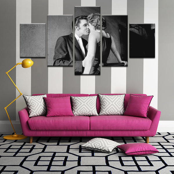 Elvis Presley The Kiss 5 Panel Canvas Print Wall Art