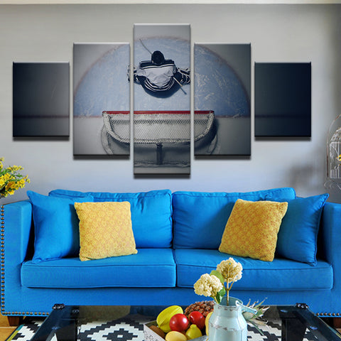 Hockey Net And Goalie 5 Panel Canvas Print Wall Art