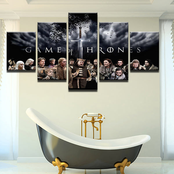 Game Of Thrones 5 Panel Canvas Print Wall Art