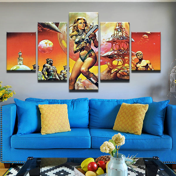 Barbarella 5 Panel Canvas Print Wall Art