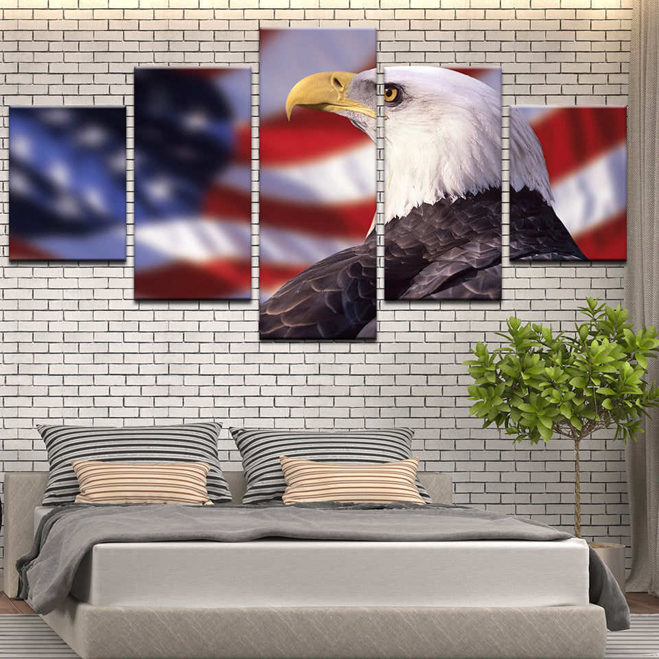 American Flag Bald Eagle 5 Panel Canvas Print Wall Art