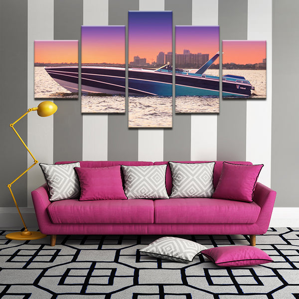 Speed Boat 5 Panel Canvas Print Wall Art