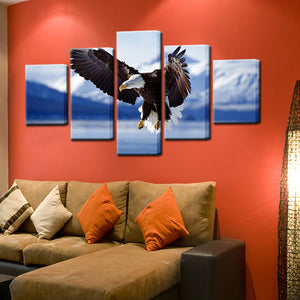 Bald Eagle In Alaska 5 Panel Canvas Print Wall Art