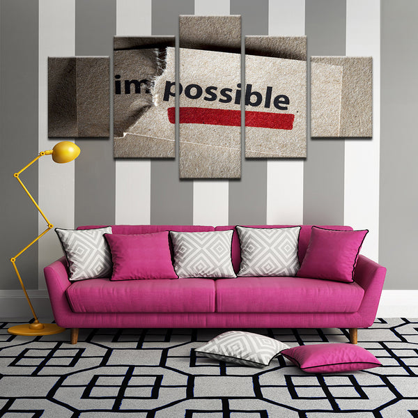 Im/possible Motivational Inspirational Quote 5 Panel Canvas Print Wall Art