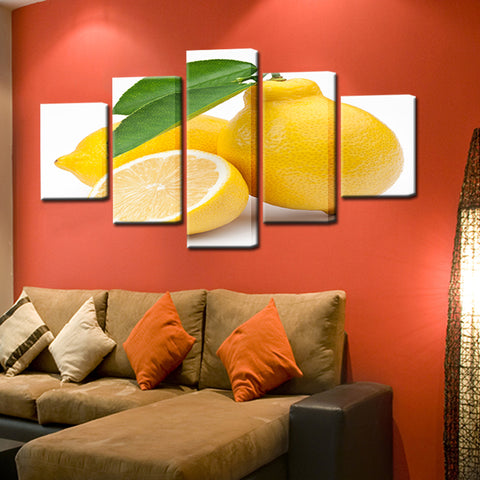 Lemon 5 Panel Canvas Print Wall Art
