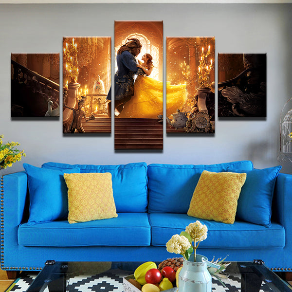 Beauty And The Beast 5 Panel Canvas Print Wall Art