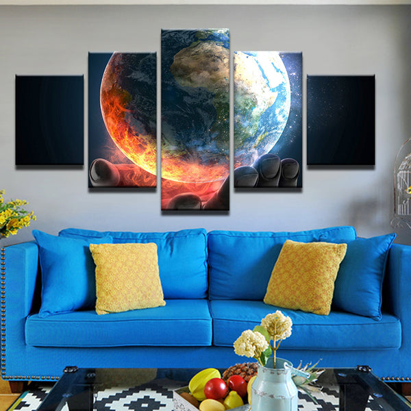Earth In Hand 5 Panel Canvas Print Wall Art