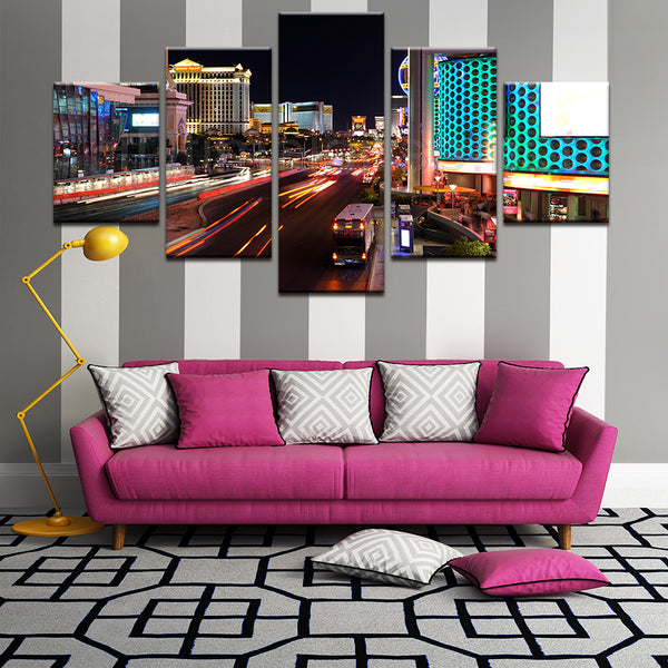 Las Vegas Strip Timelapse 5 Panel Canvas Print Wall Art