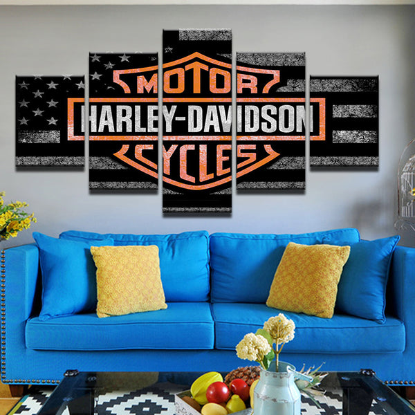 Harley Davidson American Flag USA 5 Panel Canvas Print Wall Art