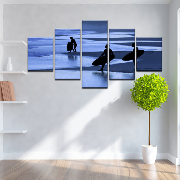 Skim Boards 5 Panel Canvas Print Wall Art