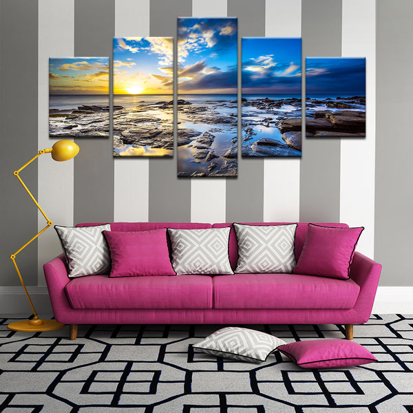 Rocky Shore Sunrise Timelapse 5 Panel Canvas Print Wall Art