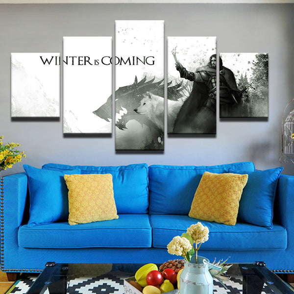 Game Of Thrones Winter Is Coming Stylized 5 Panel Canvas Print Wall Art