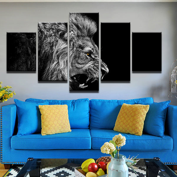 Lion Roar 5 Panel Canvas Print Wall Art