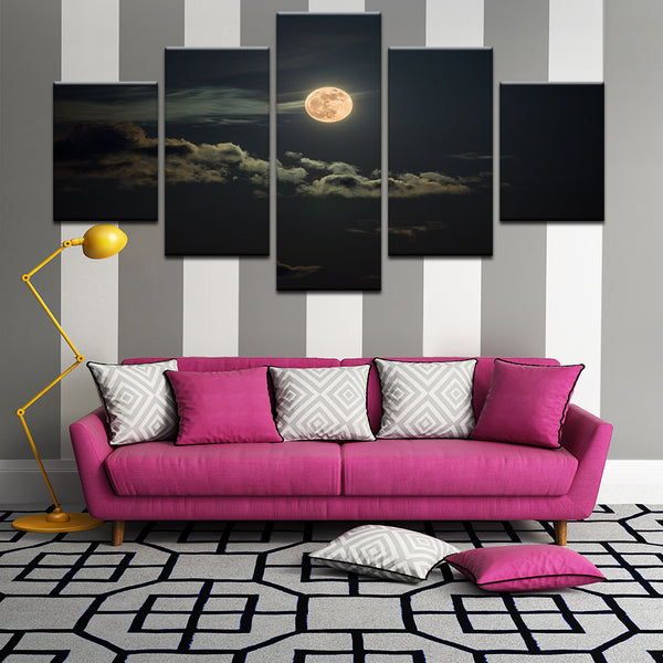 Full Moon 5 Panel Canvas Print Wall Art